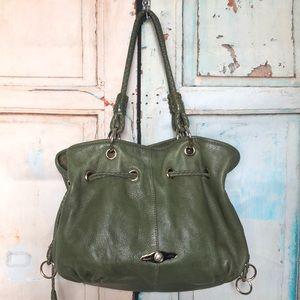 Olive green Elliot Lucca soft leather handbag